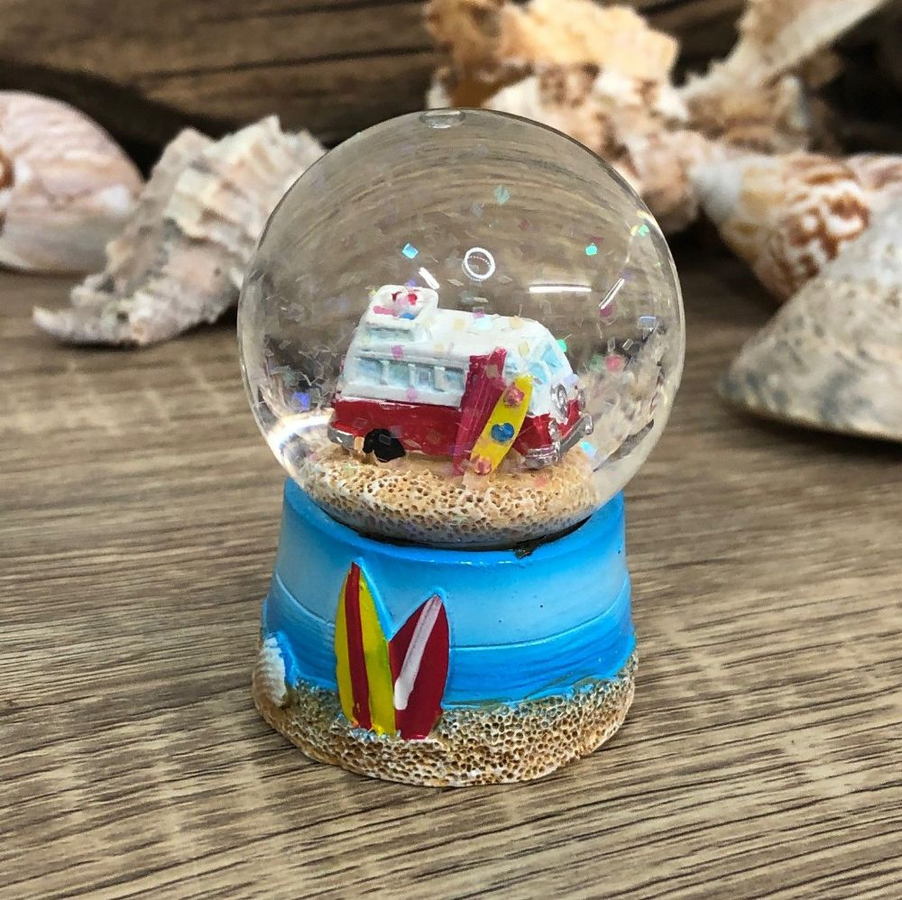 Red Campervan Surfer Beach Theme Snow Globe